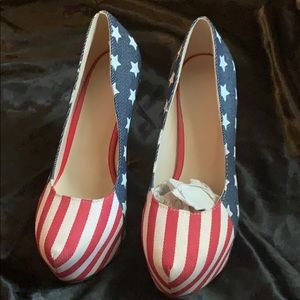 American flag platform heels